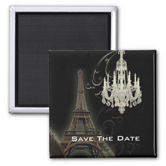 Paris Eiffel Tower Chandelier vintage wedding Square Magnet