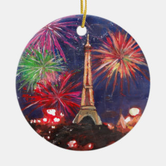 Paris Eiffel Tower City of Love with Silvester New Christmas Ornament