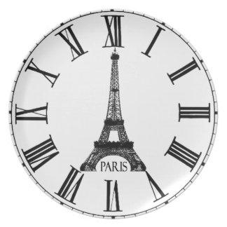 Paris Eiffel Tower Clock French Plate