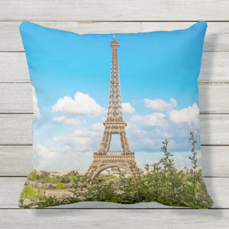 Paris Eiffel Tower Color Photo Outdoor Pillow