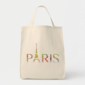 Paris Eiffel Tower Colour Splash Grocery Tote Bag