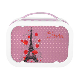 Paris Eiffel tower elegant stylish silhouette Lunch Boxes