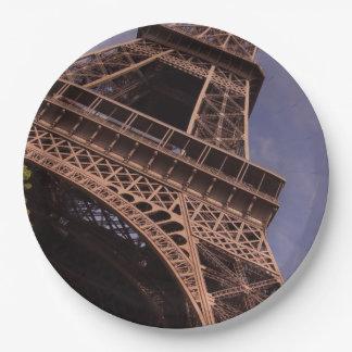 Paris Eiffel Tower Famous Landmark Photo Paper Plate