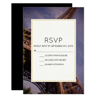 Paris Eiffel Tower Famous Landmark Wedding RSVP Card