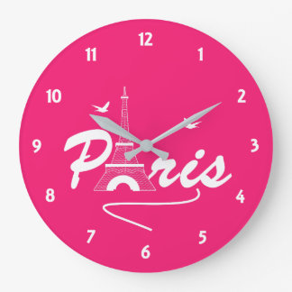 Paris Eiffel Tower Fancy Text Graphic Large Clock