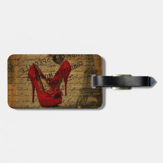 Paris eiffel tower fashionista red stilettos luggage tag