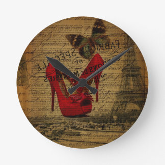 Paris eiffel tower fashionista red stilettos round clock