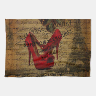 Paris eiffel tower fashionista red stilettos tea towel