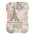 "paris eiffel tower floral vintage birthday party 5"" x 7"" invitation card"