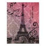paris eiffel tower floral vintage birthday party personalized invites