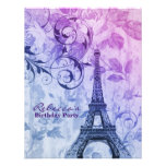 paris eiffel tower floral vintage birthday party personalized invitation