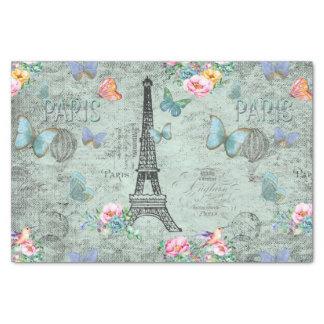 Paris-Eiffel Tower-Flower-Floral-Vintage-Roses Tissue Paper