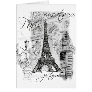 Paris Eiffel Tower French Scene Collage Card