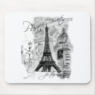 Paris Eiffel Tower French Scene Collage Mouse Pad