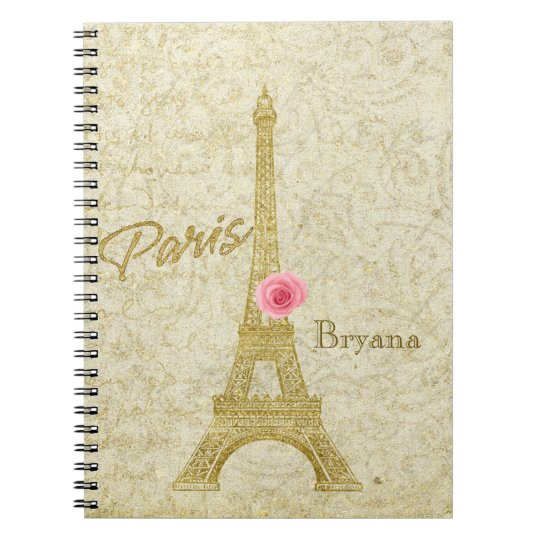Paris Eiffel Tower Gold & Pink Elegant Notebook
