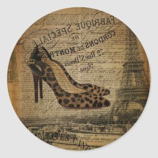 paris eiffel tower leopard high heels fashionista classic round sticker