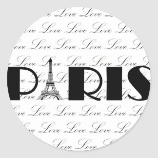 Paris Eiffel Tower Love Classic Round Sticker