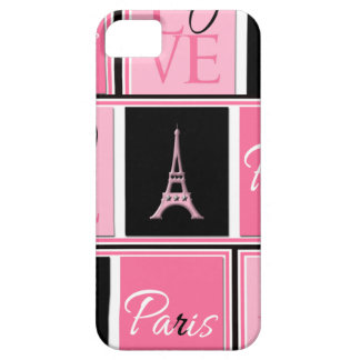 Paris Eiffel Tower Love Pink Black iPhone 5 Cover