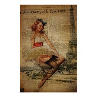 Paris eiffel tower nautical pin up sailor stationery