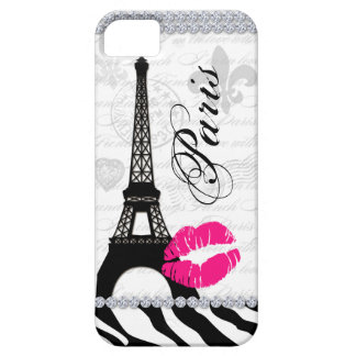 Paris Eiffel Tower Pink Lips Cell Phone Cover iPhone 5 Case