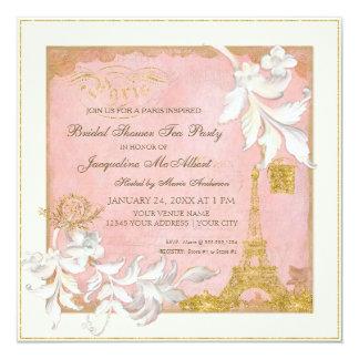 Paris Eiffel Tower Pink n Gold Elegant Bridal Tea 13 Cm X 13 Cm Square Invitation Card