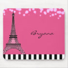 Paris Eiffel Tower Pink Poodle Girls Mouse Pad