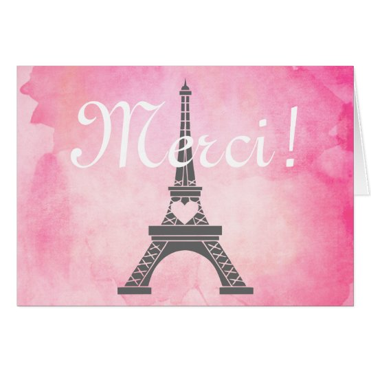 Paris Eiffel Tower Pink Watercolor Thank You Merci