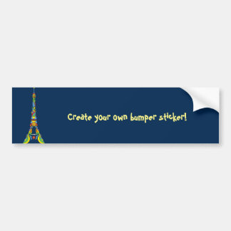 Paris Eiffel tower pop-art stylish silhouette Bumper Sticker