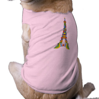 Paris Eiffel tower pop-art stylish silhouette Sleeveless Dog Shirt