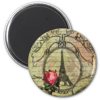 Paris Eiffel Tower & Red Rose Steampunk Magnet