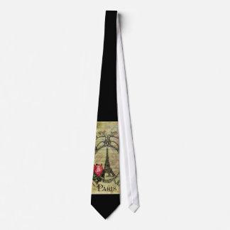 Paris Eiffel Tower & Red Rose Steampunk Tie