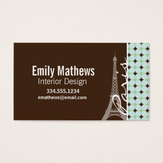 Paris; Eiffel Tower; Sage Green & Brown Business Card