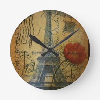 Paris Eiffel Tower shabby chic poppy flower Round Clock