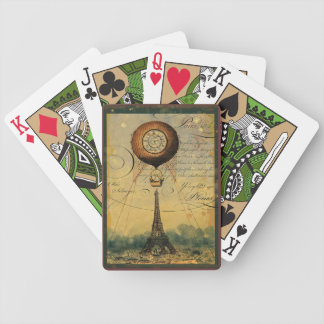 Paris Eiffel Tower Steampunk Hot Air Balloon Bicycle Playing Cards