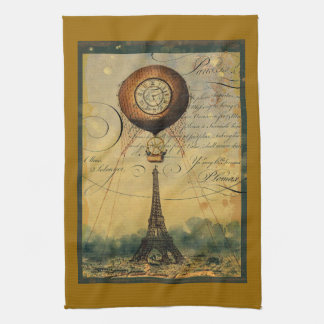 Paris Eiffel Tower Steampunk Hot Air Balloon Tea Towel