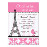 Paris Eiffel Tower Theme Baby Shower Pink Custom Announcement