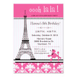 Paris Eiffel Tower Theme Birthday Party Pink 5x7 Paper Invitation Card