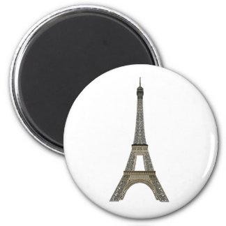Paris: Eiffel Tower: Vector Drawing: 6 Cm Round Magnet