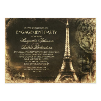 Paris Eiffel tower vintage engagement party Card