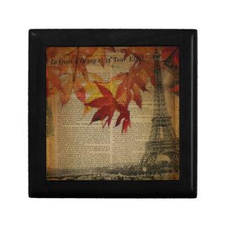 Paris eiffel tower vintage fall leaves autumn small square gift box