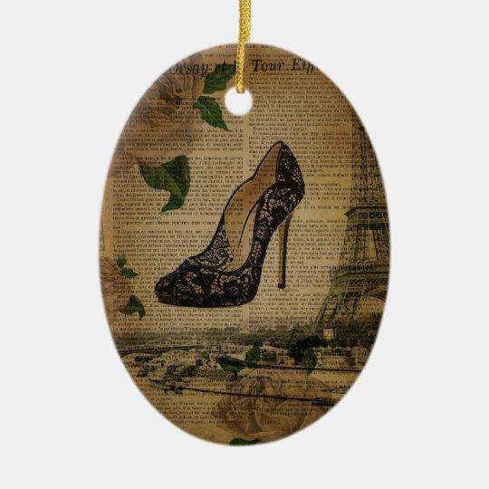 Paris eiffel tower vintage girly shoes christmas ornament