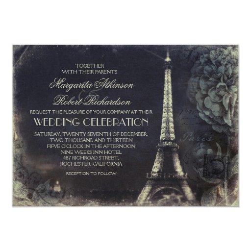 Eiffel Tower Wedding Invitations: Paris Eiffel Tower Vintage Wedding Invitations