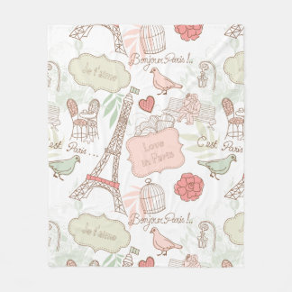Paris Eiffel Tower Whimsical Pink Fleece Blanket
