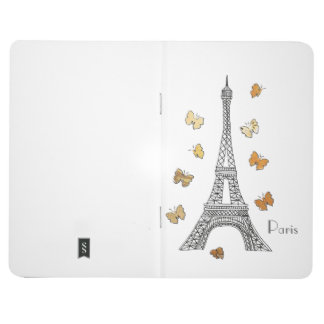 Paris Eiffel Tower with Gold Butterflies Notebook