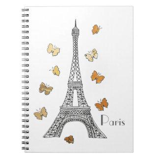 Paris Eiffel Tower with Gold Butterflies Notebook