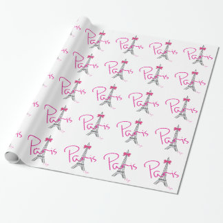 PARIS Eiffel Tower with pink bow Wrapping Paper