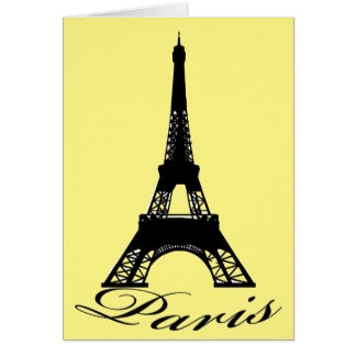 Paris Eiffel Tower Yellow Greeting Card