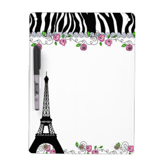 Paris Eiffel Tower Zebra White Board Pink Roses Dry Erase White Board