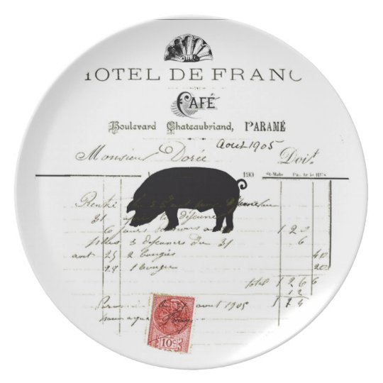 Paris ephemera party plate Pig