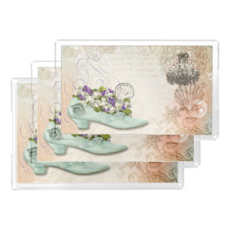 Paris etchings chandelier flowers acrylic tray